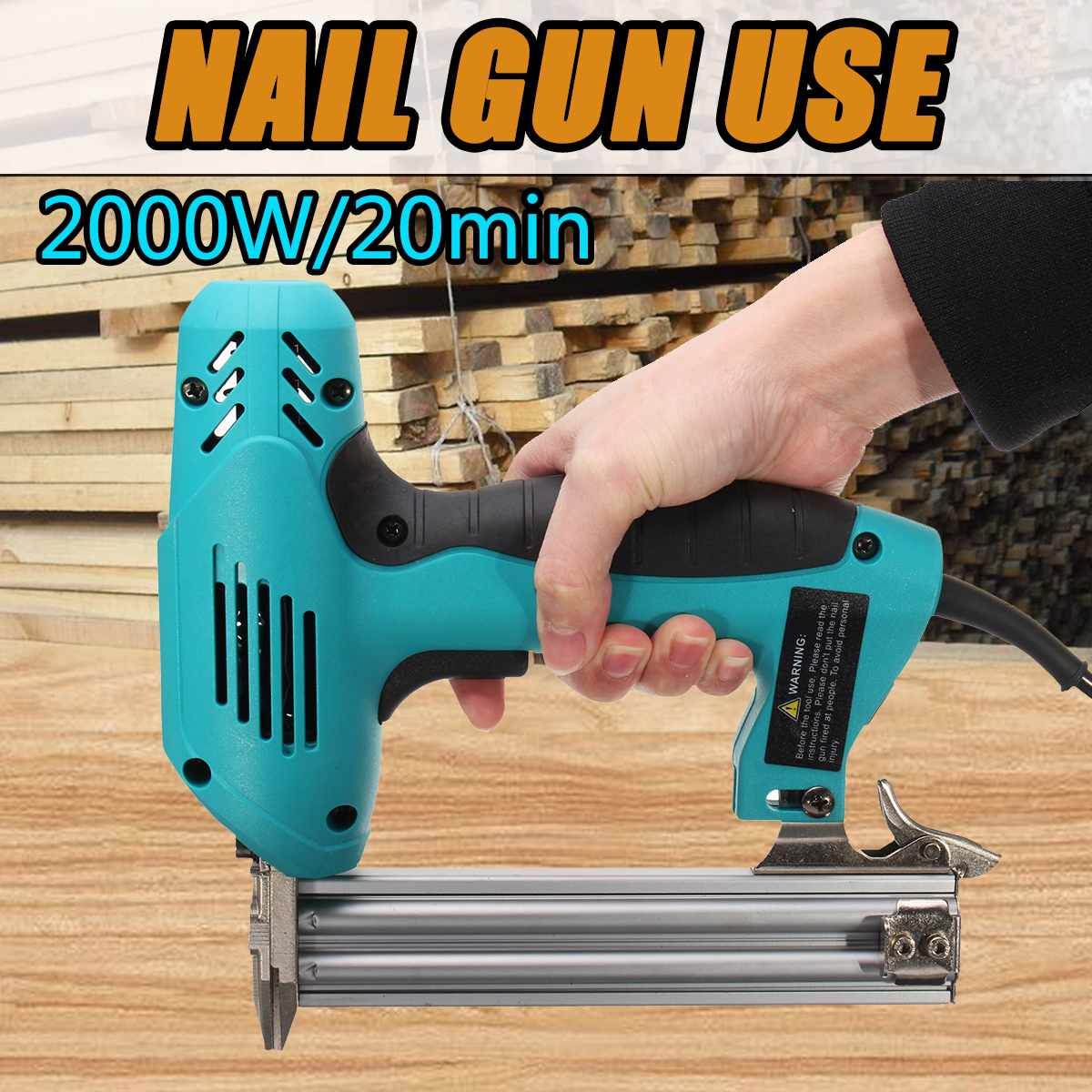 Doersupp Electric Straight Nail Gun 10-30mm High Power 220V 2000W Heavy-Duty Woodworking Tool Electrical Staple Nail