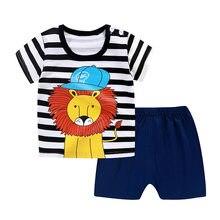 2 adet/takım bebek giysileri Set karikatür çizgili yumuşak pamuklu çocuk kız erkek T-Shirt şort takımı kısa kollu bebek yürümeye başlayan giysi