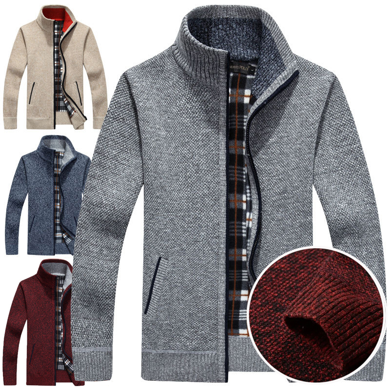 Men Jacket Sweater Cardigan Autumn Winter Sweater Coats Male Thick Jackets Casual Knitwear Crop Tops Plus Size Blazer Clothes