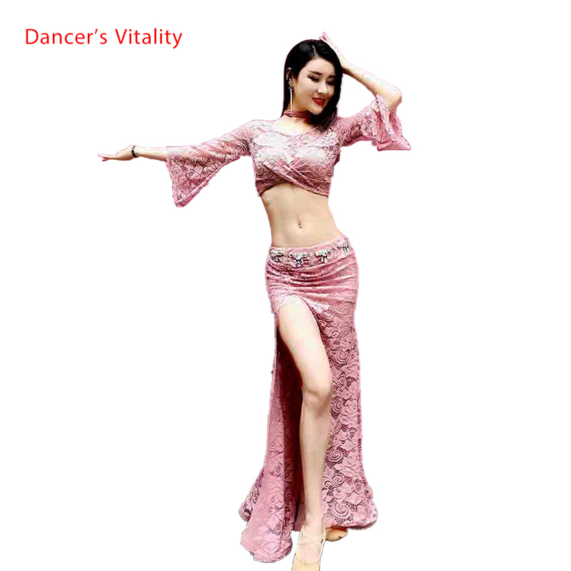 Winter Girls Women Belly Dance Flared Sleeves Top Splicing Skirt Competition Dance Wear Lady Oriental Indian Dance Lace Clothes
