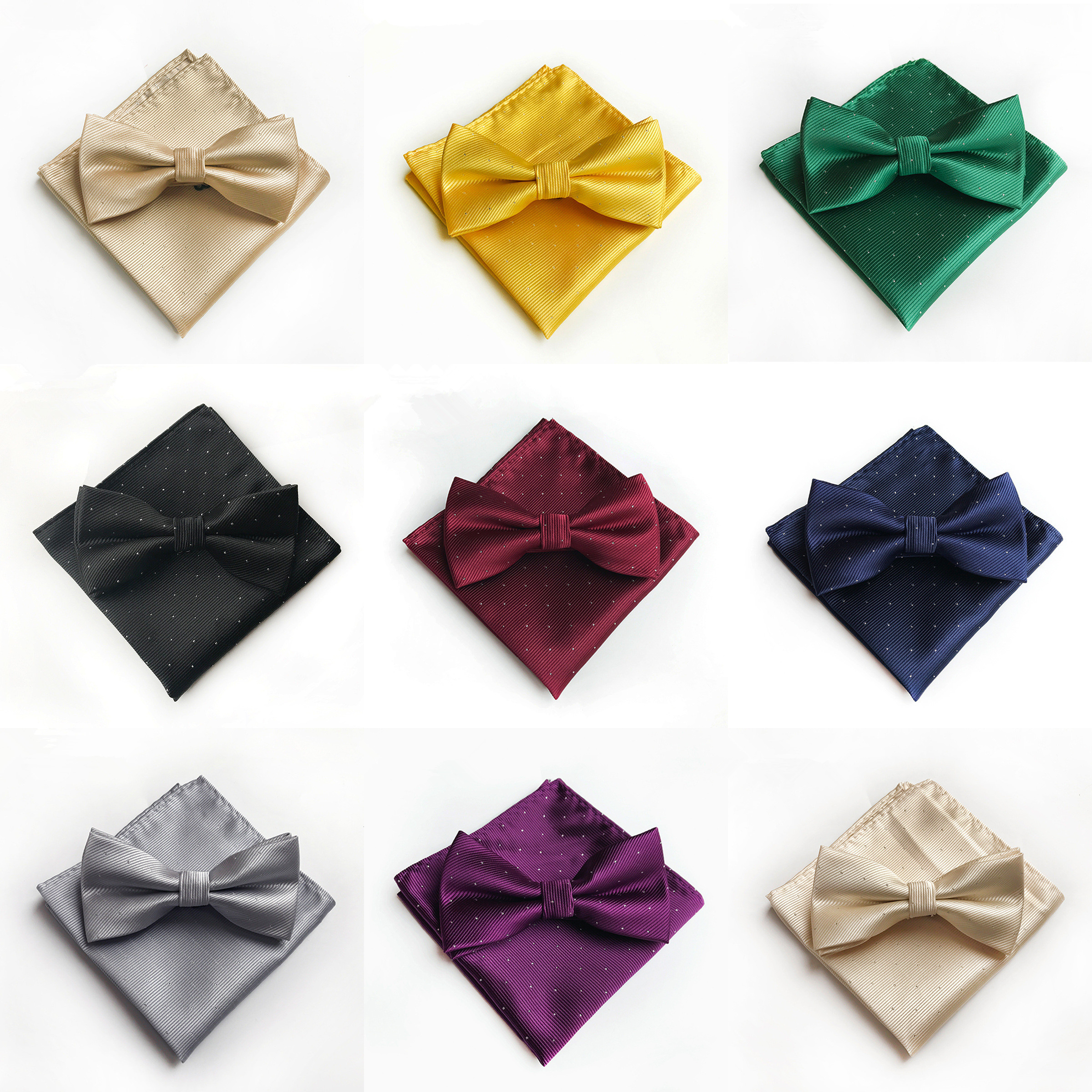 2020 New Classy Solid Silk Bowtie Handkerchief Set Yellow Red Grey Purple Gold Blue Green Mens Bow Tie Pocket Square Set A076
