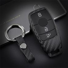 Silica Gel Carbon Fiber Car Key Cover For Mercedes Benz E Class W213 E400 E300 S CLASS W202 W203 Key Protection Case Accessories