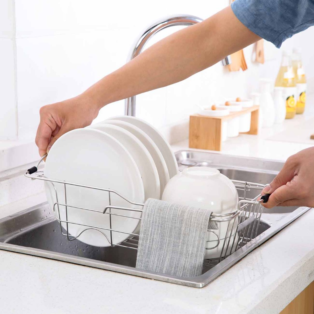 Expandable Over Sink Dish Drying Rack Stainless Steel Kitchen Storage Basket Drain Holder Fruit Rustproof Bowl Dish Glass Rack