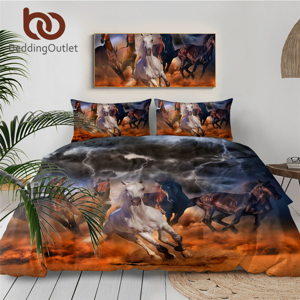 BeddingOutlet Horses Bedding Set 3D Dusty Lightning Printed Duvet Cover Double for Adults Bed Cover Photography Bedclothes 3pcs 1