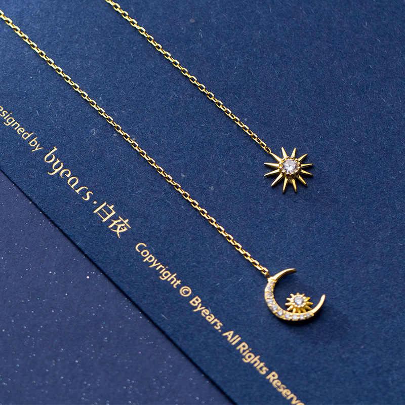 100% стерлингового серебра 925 Асимметричный Солнце Луна кубический циркон серьги-нити CZ серьги золотого цвета длинные висячие Висячие серьги для женщин