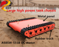 SZDOIT 15KG Load Large Metal Crawler Robot Tank Chassis Kit Rubber Track A58SW 555B High Torque DC Motor High Power Assembled