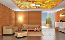 Photo Wallpaper Living Room Bedroom KTV Ceiling Murals Wallpaper Glare red leaf mural ceiling decoration(China)