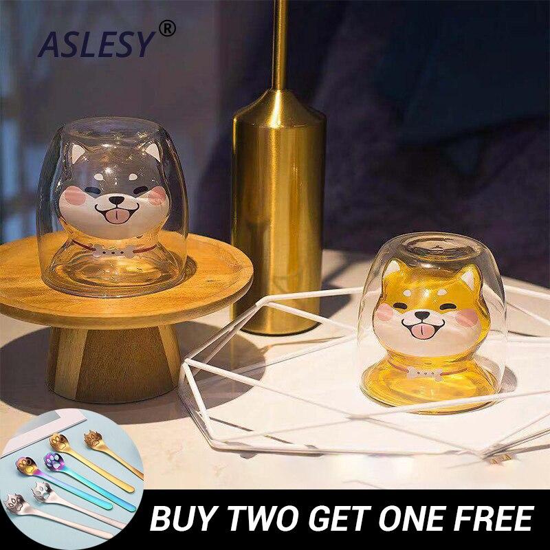Кружка Шиба с двойными стенками теплоизоляционные кружки для очков Милая чашка для собаки креативная посуда для напитков кофейная вода молочные чашки для дома подарок животное