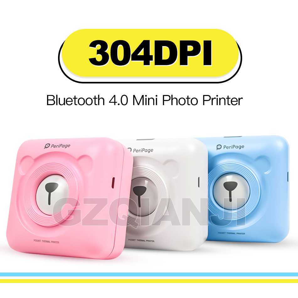 Peripage Printer Foto A6 304DPI Mini Bliuetooth Nirkabel Printer Thermal Kertas Stiker Label Printer Kertas untuk Android IOS Phon