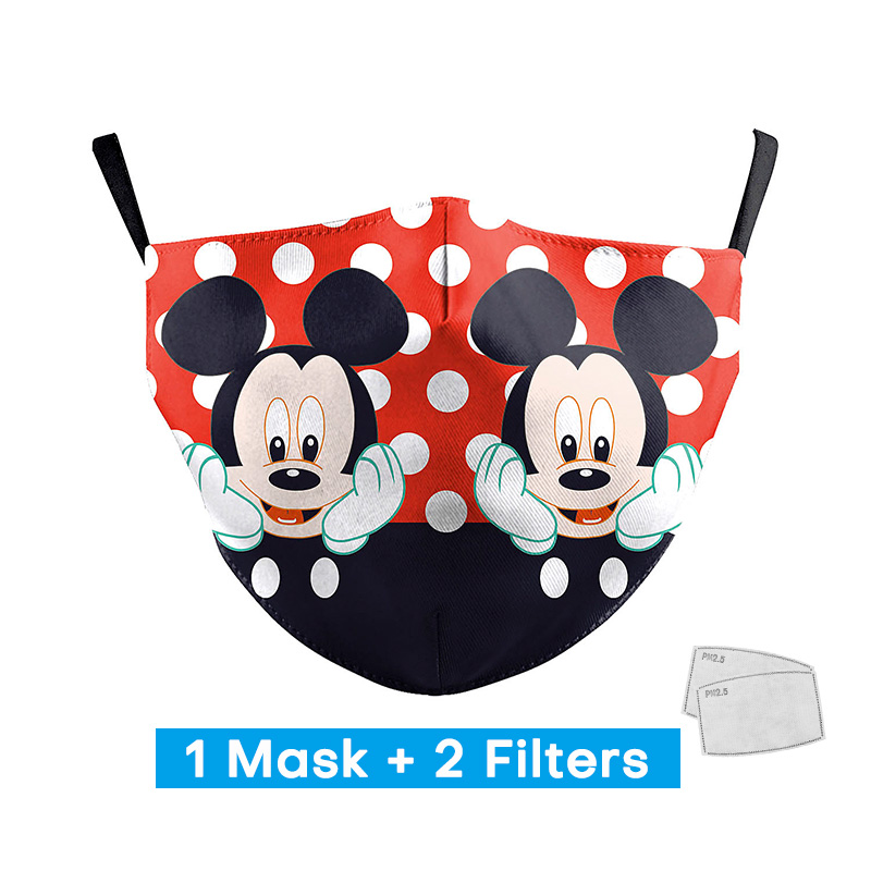 Fashion Cute Mouse Print Face Masks Personal Adult Protective PM2.5 Mouth Masks Reusable Washable Face Masks With 2 Free Filters