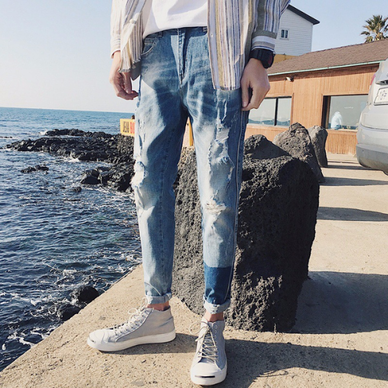 Elasticity Men Capri Jeans Summer Popular Brand Slim Fit Korean-style Trend With Holes 9 Points Skinny Pants Versatile Pants
