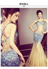 Прозрачный vestido fiesta Голубое Кружевное с аппликацией открытой