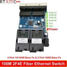 Szybki Erhetnet 2F4E 10/100M włącznik Ethernet 2 Port światłowodowy SC 25KM 4 UTP RJ45 światłowodowy przełącznik optyczny płytka PCBA