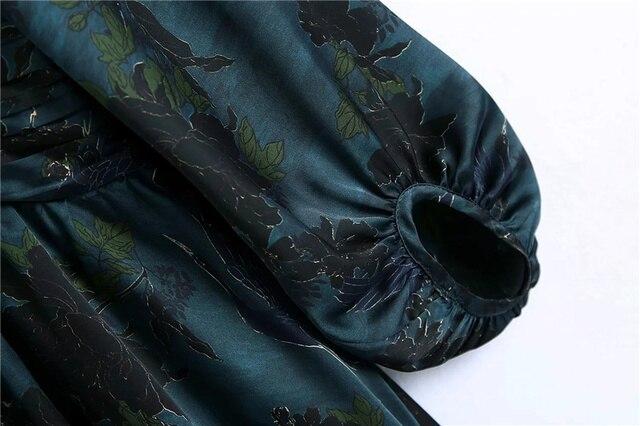Qeils Women Chic Fashion With Draped Waist Print Mini Dress Casual Vintage V Neck Long Sleeve Female Dresses Vestidos Mujer 5