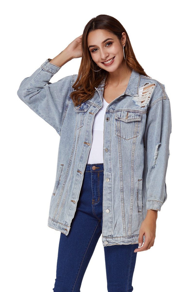 2020 Spring Autumn Women Loose Basic Coats Female Tassel Hole Jeans Coat Fashion casual Long Denim Jackets Bomber Streetwear