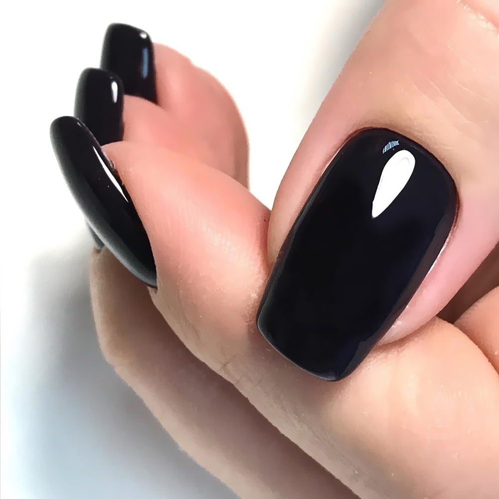 24Pcs Glossy Black Long False Nails Press On Artificial Fake Nails For Design DIY Full Cover Tips Lady Finger Manicure Tools