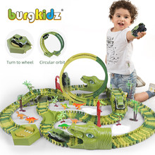 Dinossauro brinquedo ferroviário pista de corrida carro brinquedo conjunto educacional curva flexível pista de corrida flash luz carro brinquedos para crianças meninos