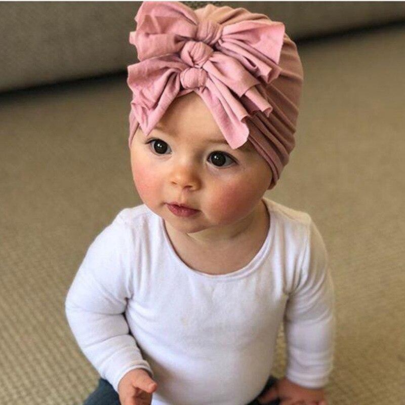 Детская вязаная шапка с бантом, теплая вязаная шапка для девочек на осень-зиму