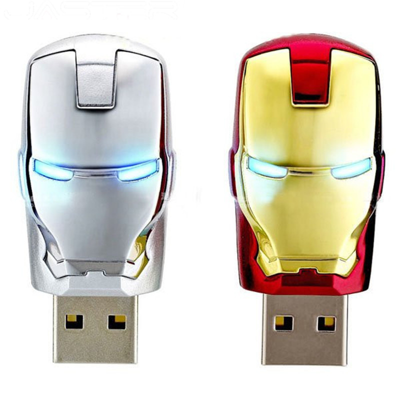Wholesale Hot Sale Fashion Avengers Iron Man LED Flash 4GB 8GB 16GB 32GB USB Flash 2.0 Memory Drive Stick Pen/Thumb/Car