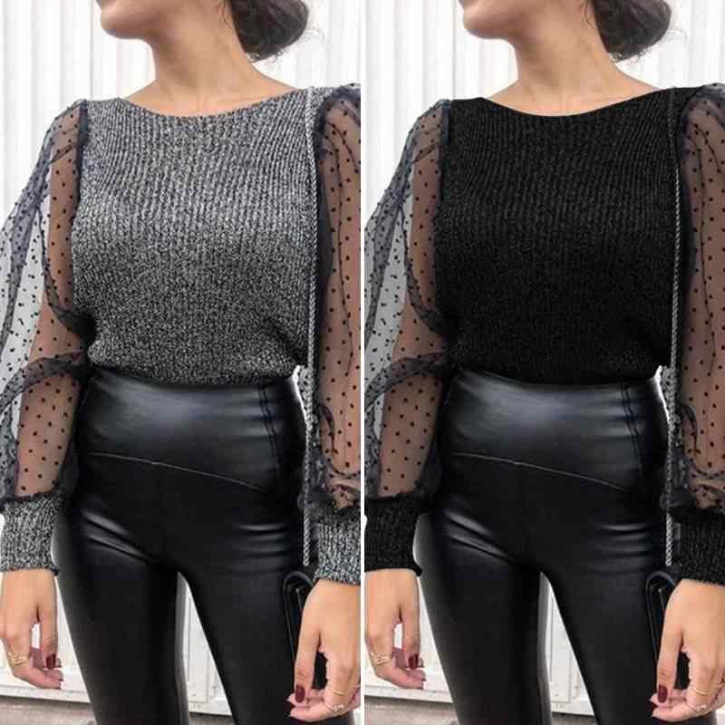 2020 Sexy Vrouwen Patchwork Mesh Bladerdeeg Mouw Tuniek Tops Blusas Zanzea Kantoor Werk Chic Ol Shirt Womens Gebreide Blouses Plus size