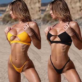 2020 New Style Bandage Cloth Hollow out Sexy Bikini Bandage Swimwear Bandage Cloth Bathing Suit Solid Color Swimwear Set Bikini