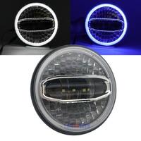 7 Polegada LED Azul farol de halo branco Para Touring Rua Glide Road King Electra Glide Ultra Classic Fat Boy Nova lâmpada da motocicleta