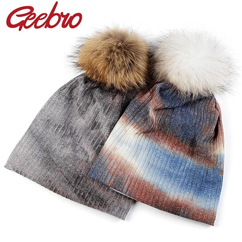 Geebro Fashion Dyed Women  Autumn Winter Warm Beanies Men Soft Elastic Skullies Cap With 15cm Real Fur Pompom Hair Balls Bonnet