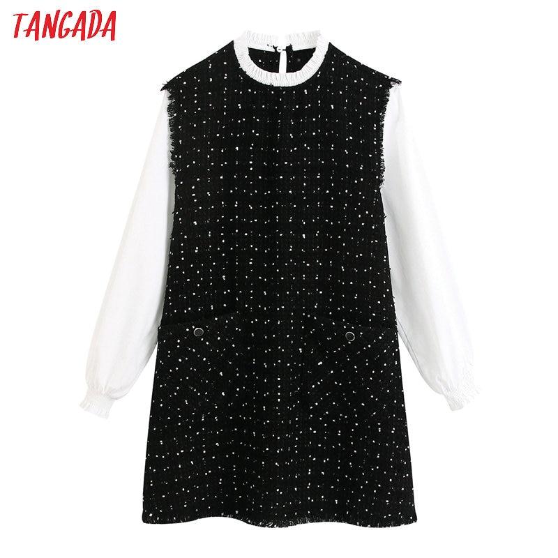 Tangada 2020 Spring Women Tassel Patchwork Dress O Neck Long Sleeve Office Ladies Elegant Work Midi Dress Vestidos BE324
