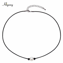 Single Bead Pearl Choker Necklace Natural White Freshwater Genuine Leather Cord Collar Chain Jewelry for Girls