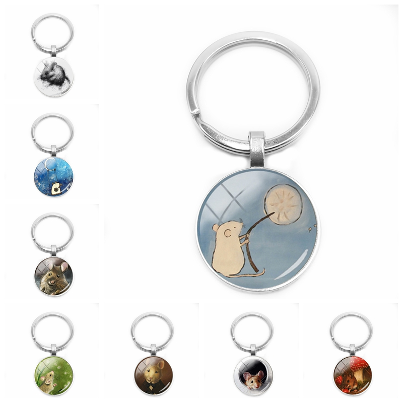 2019 New Ladies Cute Little Mouse Painting Keychain Fairy Little Mouse Glass Cabochon Keychain Gift Ornaments