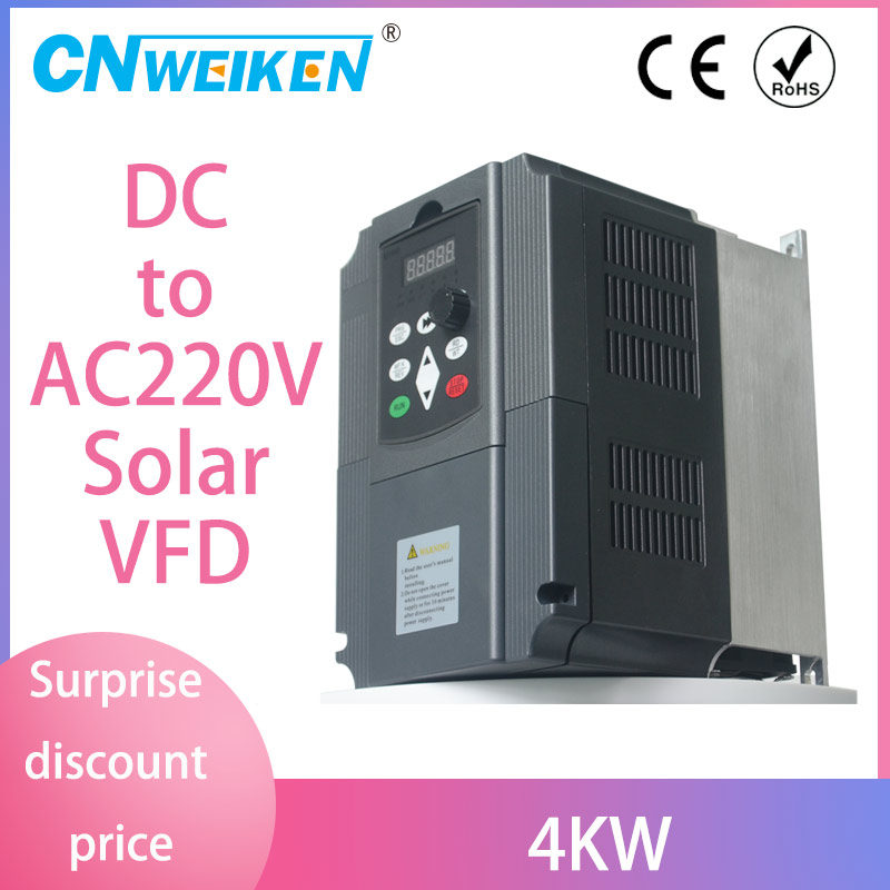 4KW 220V VFD Inverter 3KW 4KW solar Frequency Inverter Converter DC input to AC 3P Output 220V For Water Pump