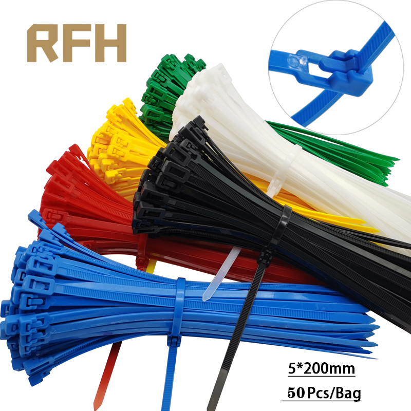 50 шт. 5*200 мм разборные кабельные стяжки цветные Пластмассовые многоразовые кабельные стяжки петли нейлоновые застежки-молнии Связки