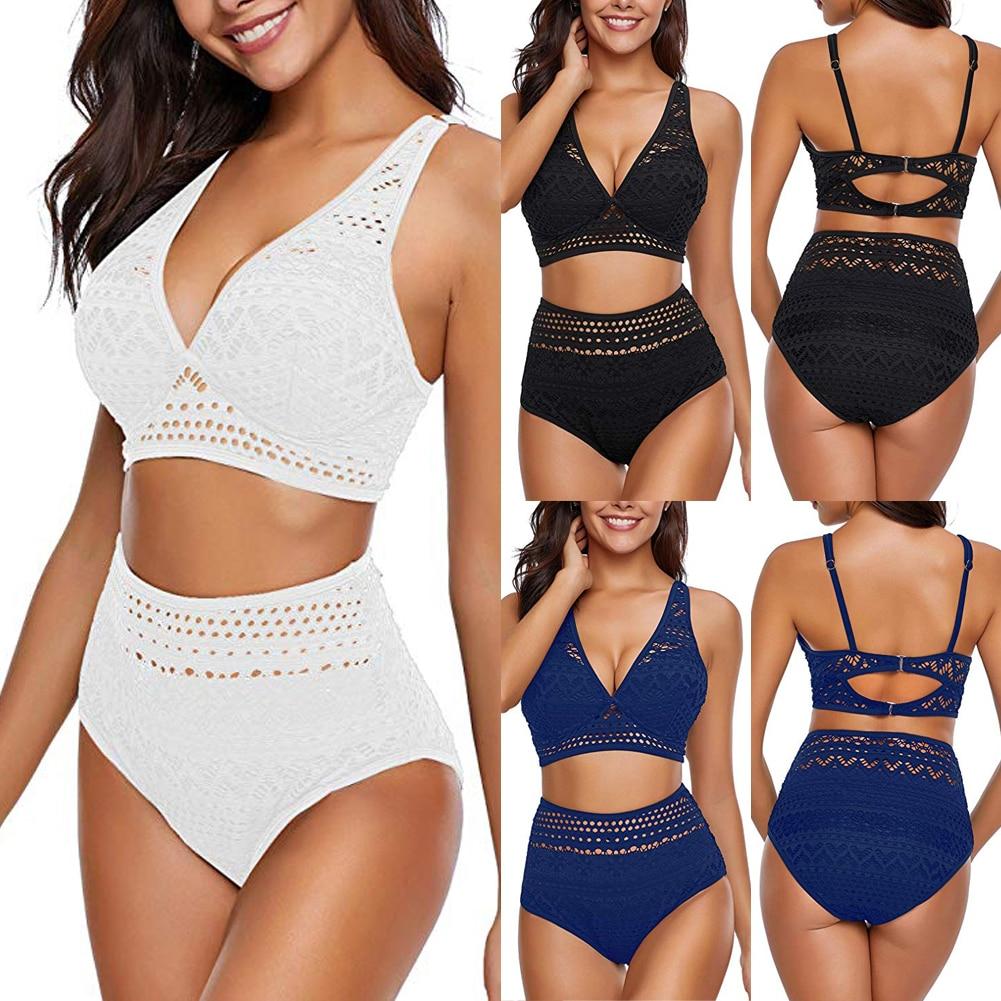 Women High Waist Padded Bra Push-up Swimwear Bikini Set Swimsuit Bathing Suit