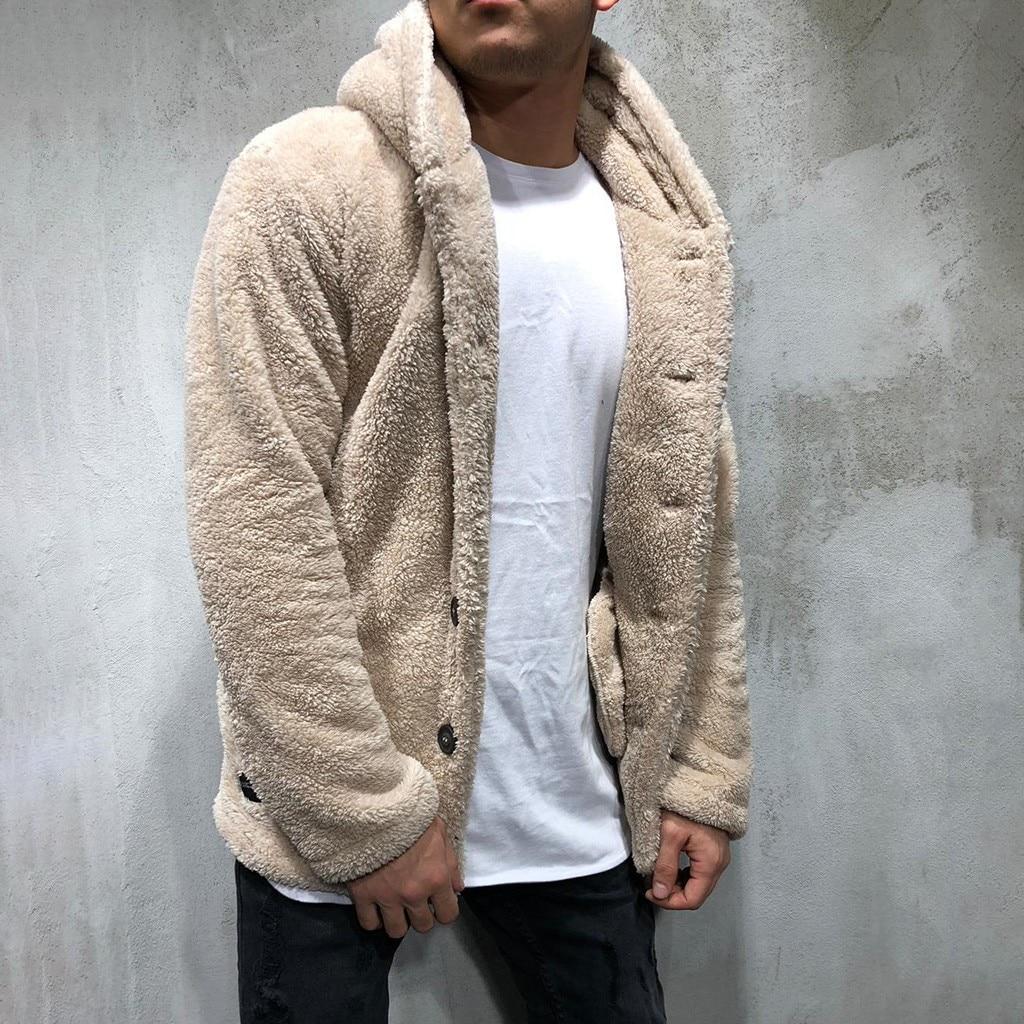 Men's Fleece Teddy Coat Jackets Autumn Winter Solid Color Cardigan Casual Tops Fur Jackets Hoodies Tracksuit Outwear Tops Male