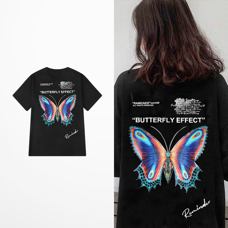 New Fashion Retro Funny Butterfly Print T Shirt Summer Cotton High Street Dark Souls T-shirts Men Casual Wear Tee Shirt Homme