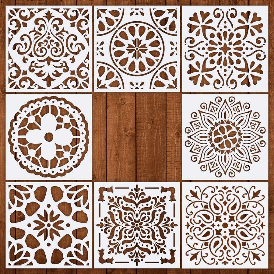 8pcs 15*15  Stencils For Wall DIY Drawing Mandala Style Laser Cut Painting Home Decoration Template For Wood Floor Tiles Fabric