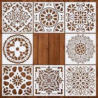 8pcs 15*15 Stencil per la Parete FAI DA TE disegno Mandala stile di Taglio Laser Pittura della decorazione della casa modello per il Legno piastrelle del pavimento In Tessuto