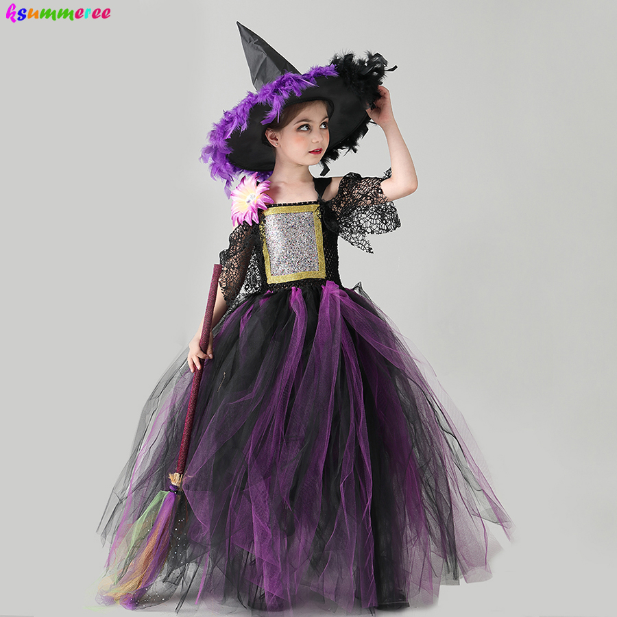 Purple Black Girls Halloween Witch Tutu Costume Dress with Hat Kids Carnival Party Cosplay Fancy Dress Up Gown Witch Dresses