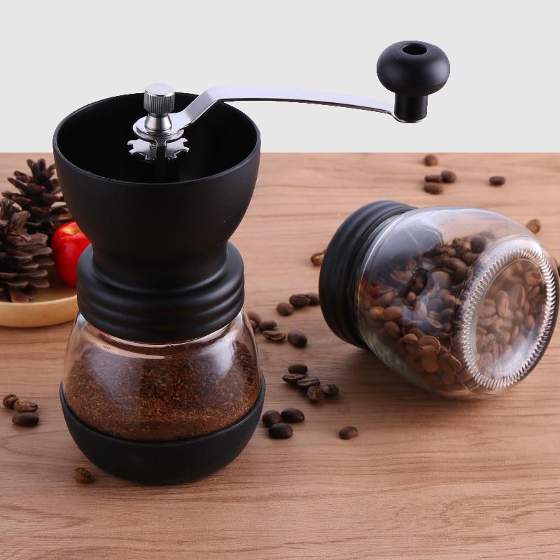 Ручная керамическая кофемолка в зернах с укрепленной стеклянной баночкой для хранения, прочная кофейная мельница для кофе, кухонные инструменты SP521|Ручные кофемолки|   | АлиЭкспресс