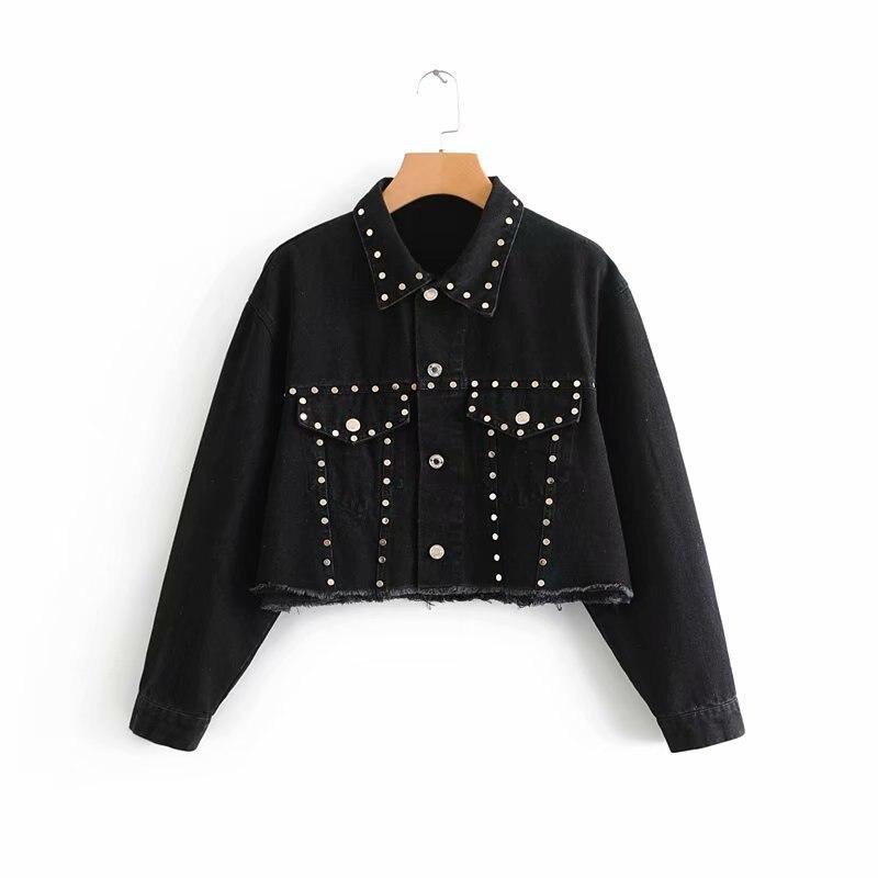 2018 automne nouveau Style Europe et amérique femmes robe Versitile mode industrielle Rivet décoration Denim veste à manches longues C
