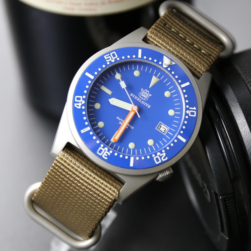 STEELDIVE 200m Dive Watches Men Ceramic Bezel 316L Steel Mens Watches Top Brand Luxury Steel Dive Mechanical Watch Men Big