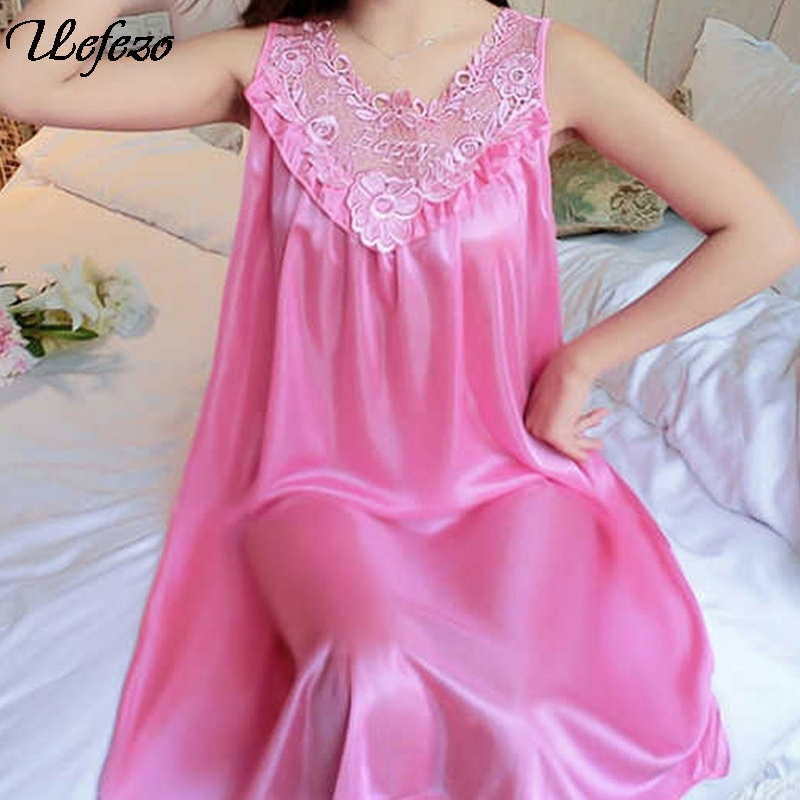 Uefezo New  Women Nightgowns Satin Lace Sleepwear Nightwear Pyjama Women Home Clothing Sleepwear Female Sexy Lingerie Gown Robe