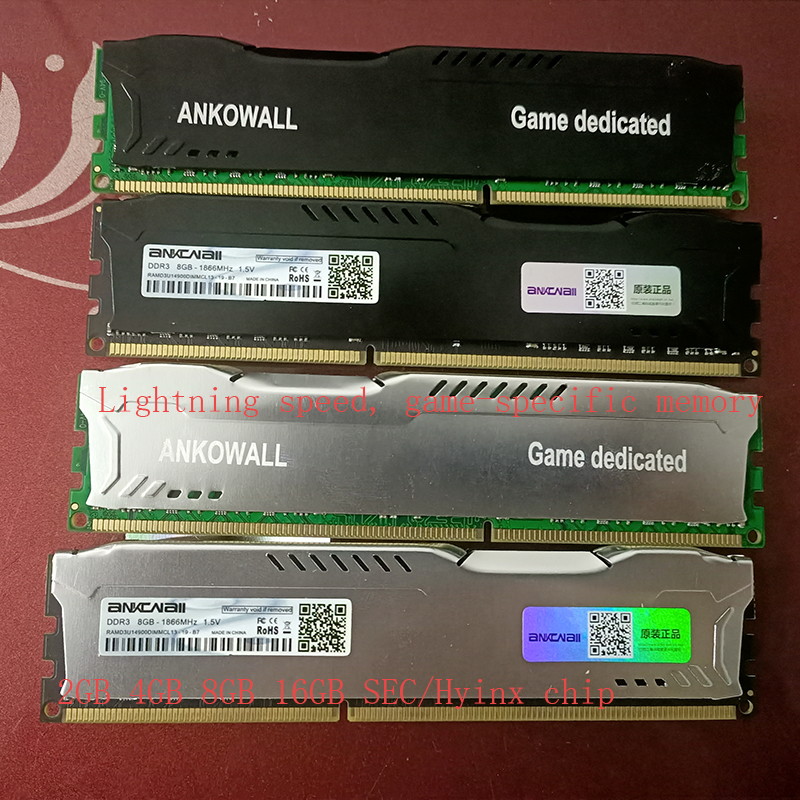 ANKOWALL Ram DDR3 8GB 4GB 16G  1866MHz  1600Mhz 1333  Desktop Memory with heat Sink  240pin  New dimm stand by   AMD/intel  G41 5