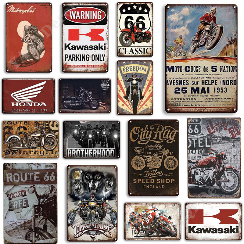 Vintage Motorcycles Tin Sign Retro Motor Garage Decor Metal Plate Signs for Man Cave Pub Bar Home Decoration Wall Decor
