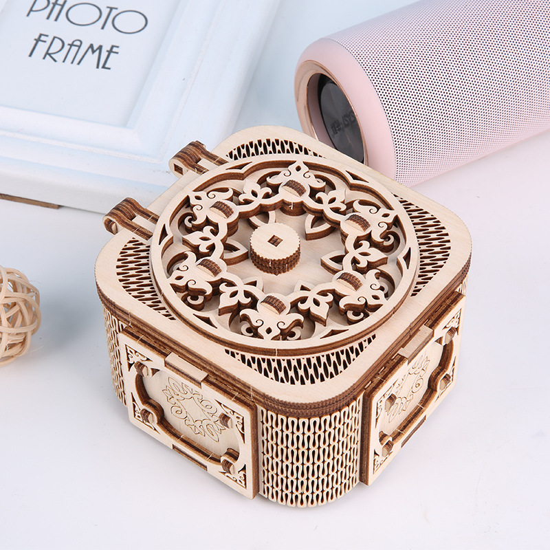 Wooden 3D Puzzle Model Jewelry Music Box DIY Mechanical Drive Model Kit Wooden Constructor Figure Adult Puzzle Toy Children Gift