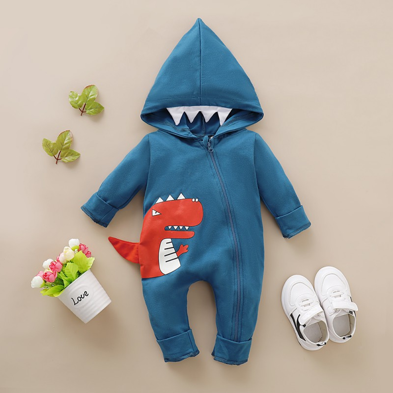 Autumn Winter Cute Fashion Children Jumpsuits Baby Boy Cartoon Printing Long Sleeve Hooded Rompers