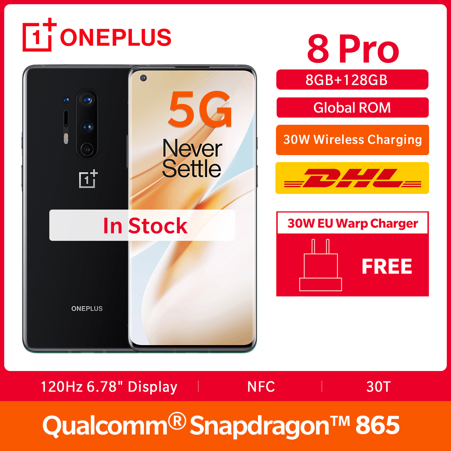 In Stock OnePlus 8 Pro 5G Global Rom 8GB 128GB Smartphone Snapdragon 865 120Hz Display 6.78