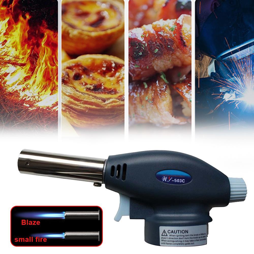 Portable Gas Torch Flame Gun Blowtorch Copper Flame Butane Gas-Burner Lighter Heating Welding For Outdoor Camping BBQ Spray Gun