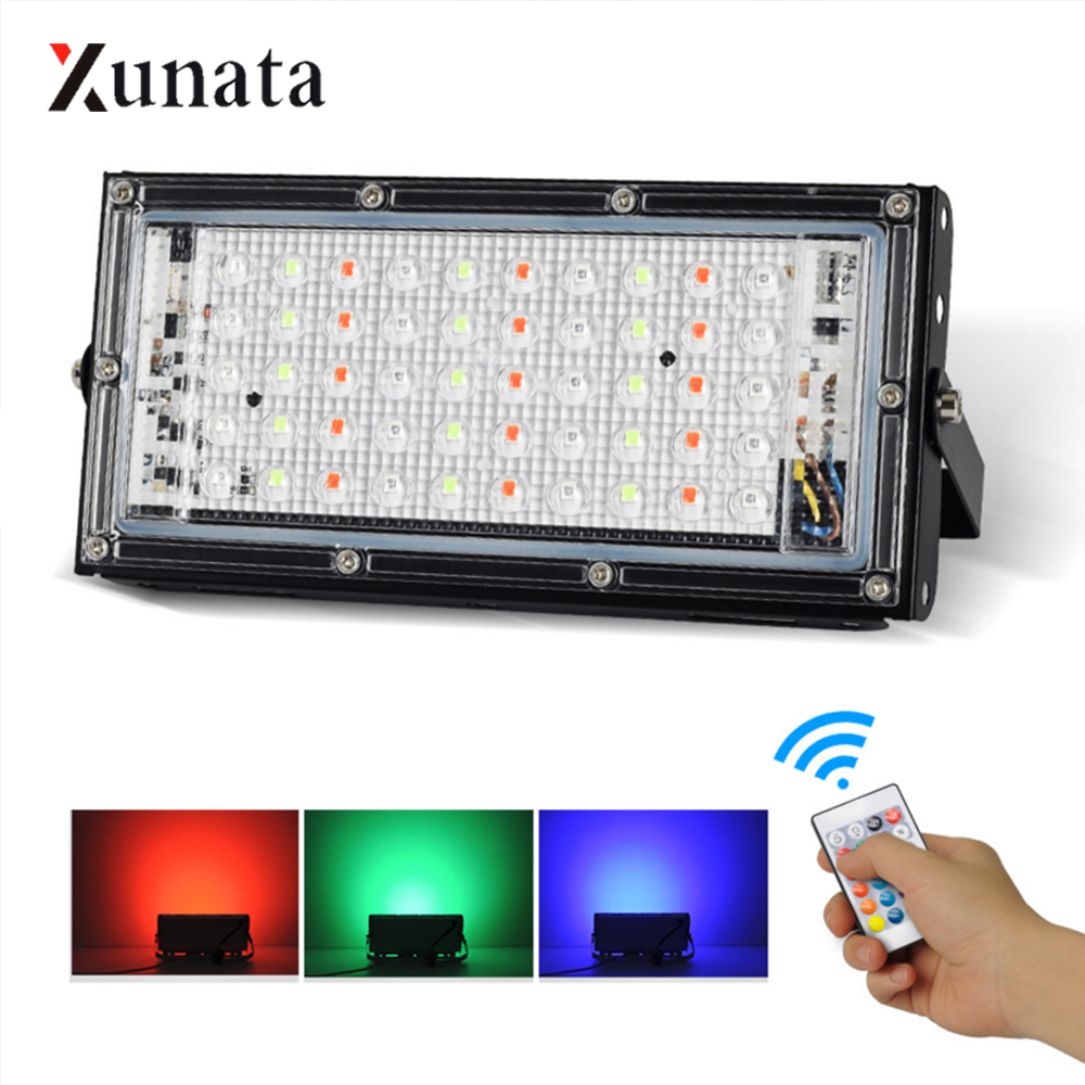 AC 220V RGB Floodlight 50W IP65 Waterproof LED Spotlight With Remote Controller Reflector LED Floodlight