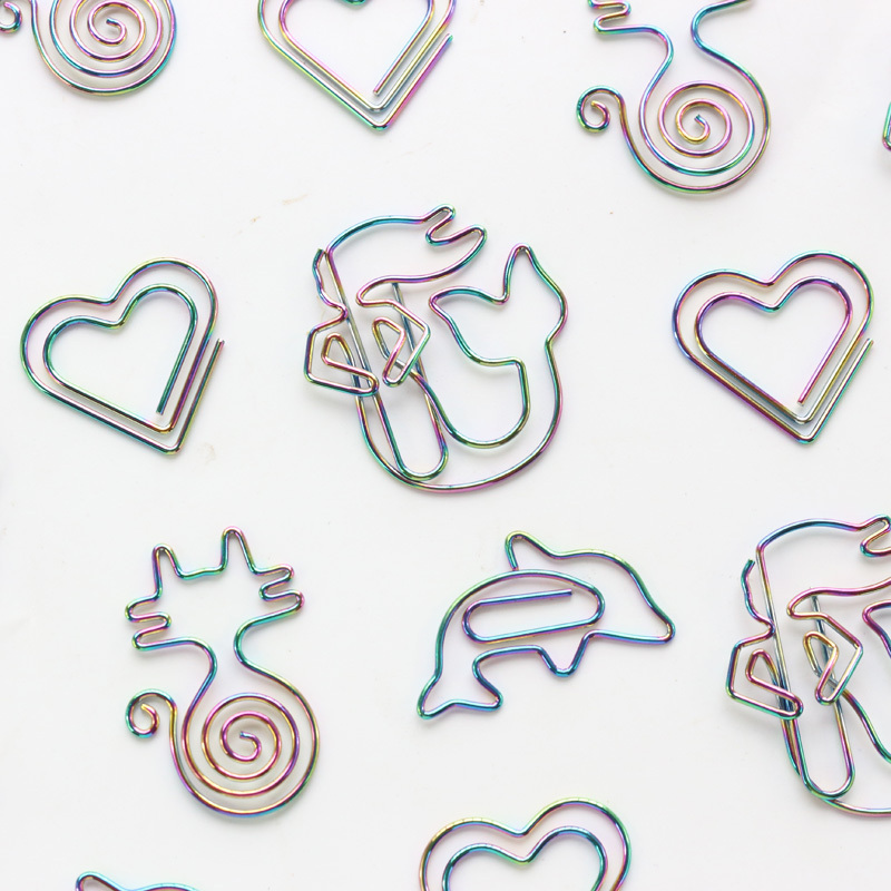 Domikee Cute Creative Colorful Mermaid Love Heart Metal Office School Paper Clips Bookmark Stationery Supplies 2pcs